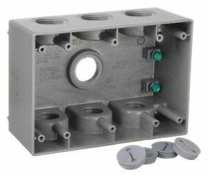 Bell Weatherproof Electrical Box 3 gang 7 inlet Aluminum Gray Aluminum