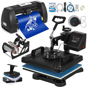 5in1 Heat Press 15 x12 14 Vinyl Cutter Plotter T shirt Sticker Print Usb Port