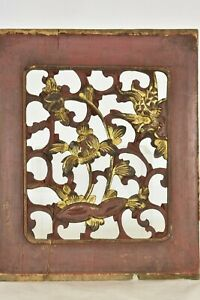 Antique Chinese Red Gilded Wood Carving Carved Panel Qing Dynasty 19th C