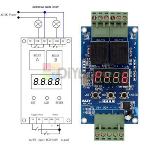 12v Dual Programmable Relay Control Cycle Delay Timer Switch Module Eazy vlc 2 0