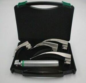 New Original Fiber Optic Laryngoscope Mac Set Of Blade Handles Emt Anesthesia