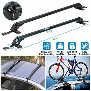 Universal 43 Car Top Roof Cross Bar Kayak Cargo Carrier Rack W Anti theft Lock