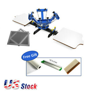Usa 4 Color 2 Station Silk Screen Printing Press 6pack Aluminum Screen Frame