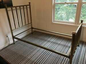 Antique Brass Bed Frame Twin Size 1900 1950