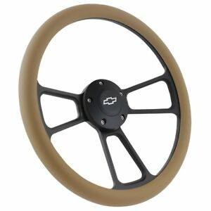 Chevy Steering Wheel Black Tan Wheel With Chevy Engraved Horn Button