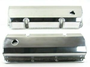 Ford 351c Tall Fabricated Aluminum Valve Cover Pair W Hole Polished E41354p