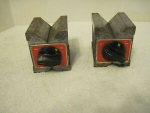 Set Of Starrett No 566 Magnetic Base V Block Metal Holders From A Local Estate