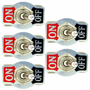 5 X Spst 2pin Heavy Duty 10a 125v On Off Rocker Toggle Switch Waterproof Boot Us