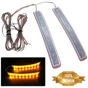2x Universal Car Led Rear View Mirror Blinker Light Turn Signal Bumper Strip New
