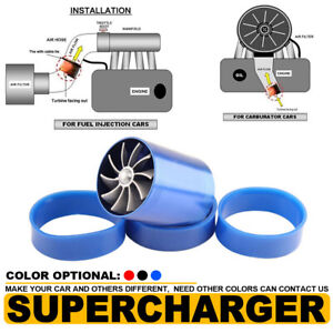 Supercharger Double Dual Turbonator Air Intake Fuel Saver Turbo Charger Fan Blue
