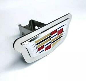 Chrome 2014 Cadillac Emblem Trailer Tow Hitch Cover Stainless Steel 2 Plug