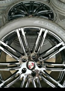 21 Porsche Cayenne Turbo Oem Forged By Bbs Gloss Black Wheels W Tires
