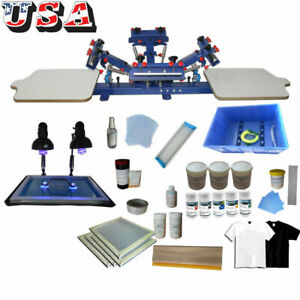 4 Color 2 Station Shirt Screen Printing Kit Press Equipment Set Industry Newest