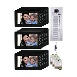 Home Entry 2 Wire Video Intercom System Kit With 12 Resident Button Panel