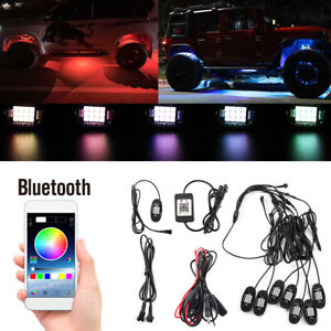8x Pod Neon Led Rock Light Kit Bluetooth App Underglow For Offroad Car Us Stock
