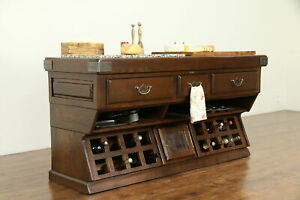 French Oak Vintage Wine Cheese Server Counter Kitchen Island Utges 32326
