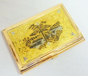 Gold Handmade Name Card Business Card Holder Metal Box Storage Id Credit Case