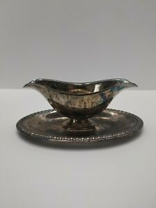 Vintage Wm Rogers Silverplate Double Sided Gravy Sauce Boat W Attached Plate