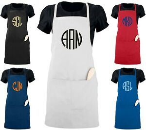 Custom Monogrammed Apron W Your Initials Server Size 22 X 30 Monogram Gift