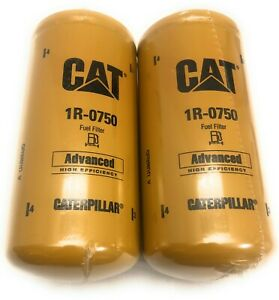 2 Pack Of New And Genuine Cat 1r 0750 Fuel Filter Caterpillar 1r0750 Free Ship