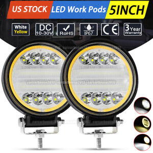 2x 80w Cree Led Work Lights Pods Combo Off Road Lamp For Jeep Atv Utv 5 Round