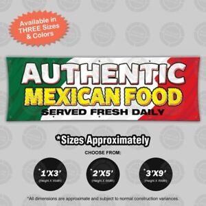 Authentic Mexican Food Ii Banner Restaurant Sign Vinyl Wall Poster Display Lona