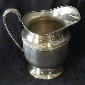 Antique E G Webster Son Silver Plated Water Pitcher Beverage 1886 1928 Jug