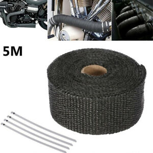 1 Black Car Motorcycle Heat Insulation Wrap Exhaust Header Pipe Tape Cloth