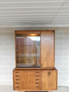 Lane Modern Style Walnut 2 Pc Lighted Top Display Cabinet Credenza