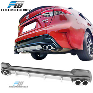 Fits 20 21 Toyota Corolla Le Black Rear Diffuser With Silver Lower Trim