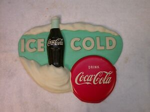 Vintage Coca-Cola Sign Ice Cold Drink Coca-Cola 1950s Vacuform Plastic Coke