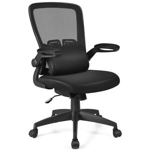 Mesh Office Chair Mid Back Adjustable Height W Lumbar Support Flip Up Armrest