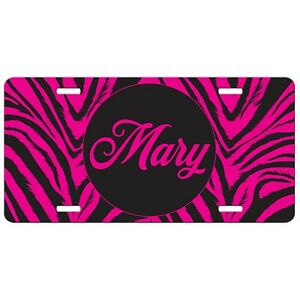 Hot Pink Zebra Print Personalized License Plate Car Tag Frame Aluminum Gift Her