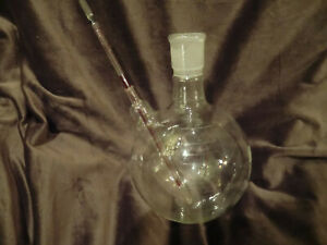 Pyrex 2000ml Round Boiling Flask 34 45 Usa Vintage With Thermometer Well