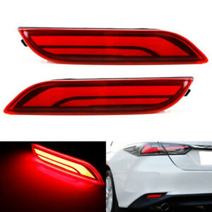 Red Lens Warning Led Bumper Reflector Tail Brake Lights Fit For 18 Toyota Camry
