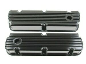 Small Block Ford 289 302 Fabricated Finned Valve Cover Set Black Ano Bpe 2327ba