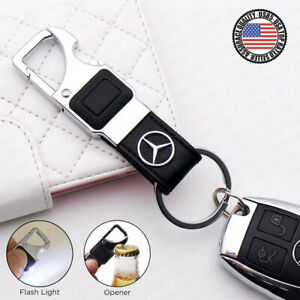 For Mercedes Amg Alloy Leather Keychain Ring Led Flashlight Opener Home Car Gift