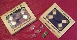 Vintage 2 Pkgs Of 4 Clear Lucite Mirror Mounting E Z Plastic Mirror Clips Extras