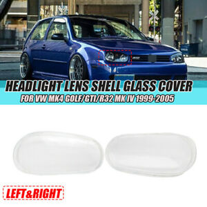 Headlight Lens Shell Glass Cover Right Left For Vw Mk4 Golf Gti R32 Mk Iv 99 05