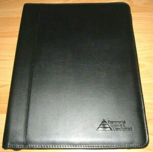 Portfolio Black Leather Zipper Organizer Case Planner Folder File Document A4