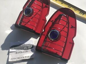 New Pair 1954 Chevrolet Bel Air 150 And 210 Blue Dot Tail Light Lens