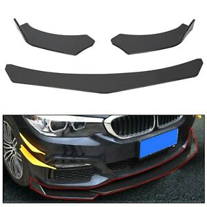 3pcs Front Bumper Lip Splitter Spoiler Universal Adjustable Angle Glossy Black