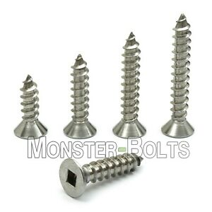 6 Stainless Steel Square Flat Head Self tapping Type A Sheet Metal Screws 18 8