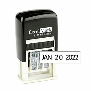 New Excelmark Self Inking Line Date Stamp S121 Black Ink 1 8 X 3 4