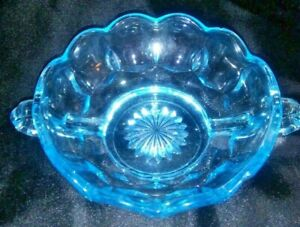 Vintage Fenton Art Glass Colonial Blue Thumbprint Pattern With 2 Handles
