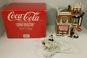 Dept 56 Snow Village Coca Cola Corner Drugstore 5484-4 Christmas Winter READ