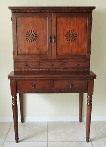Pier 1 Import Antique Style Carved Solid Mahogany Drop Leaf Buffet China Cabinet