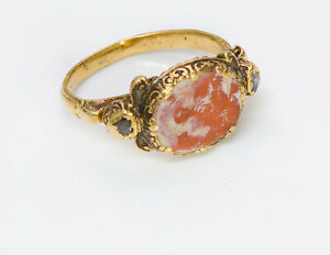 Ancient Agate Intaglio Antique Yellow Gold Diamond Ring