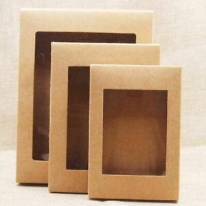 Paper Box With Window 20pcs Kraft Gift Boxes Bakers Cake Muffin Diy Packaging