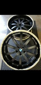 22 Bmw 640 650 740 750 Staggard Vossen 3 Piece Gloss Black Wheels Only